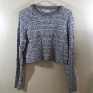 STARING AT STARS ANTHRO Gray Cropped Sweater